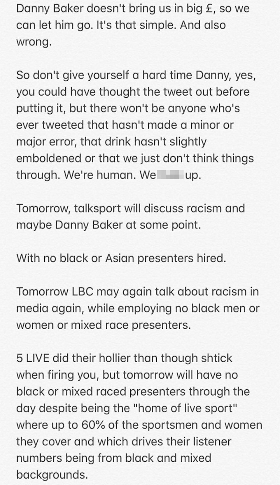 Collymore went on to call out the BBC and other radio stations who have 'no black or Asian presenters hired'