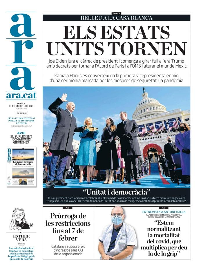 January 21, 2021 front page of Ara
