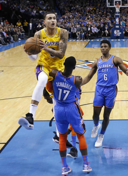 c4ce2ab3e926 Kuzma scores 32 as Lakers top Thunder in OT without LeBron