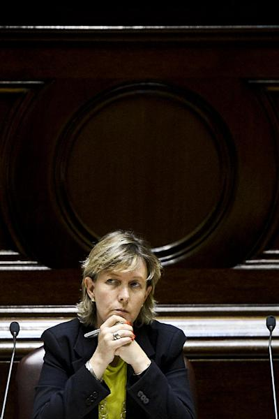 Portugeuse Minister of State and Finance Maria Luis Albuquerque sits before the Parliamentary Standing Committee session at the Portuguese Parliament in Lisbon on August 7, 2014 (AFP Photo/Patricia De Melo Moreira)