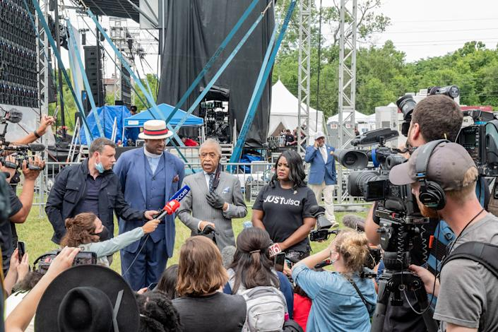 Reverend Al Sharpton speaks to attendees at the Juneteenth celebration in the Greenwood District of Tulsa, Oklahoma on June 19, 2020. | Ruddy Roye for TIME