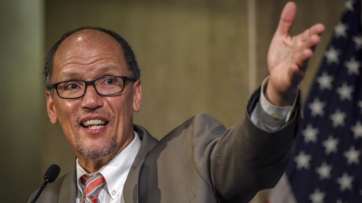 Tom Perez, outgoing U.S. labor secretary and the former head of the Justice Department's civil rights division, has been all but endorsed in the DNC race by President Barack Obama.