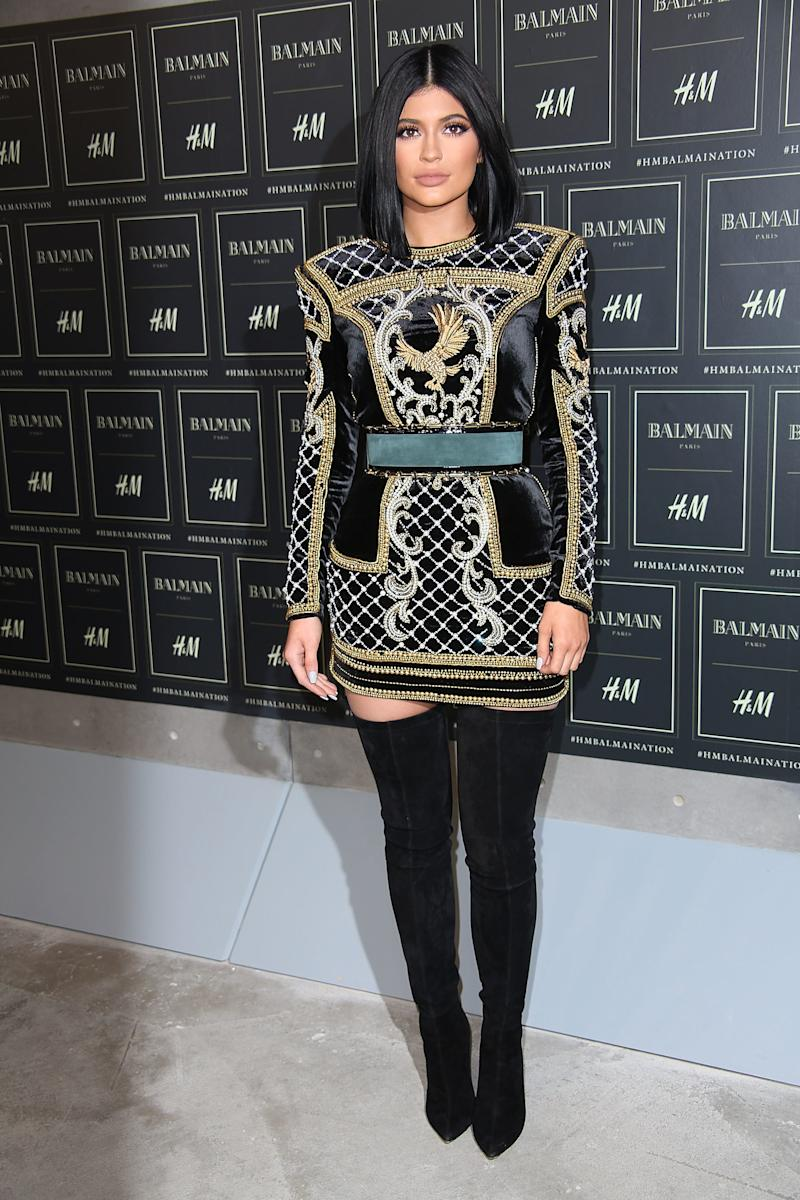 Wearing Balmain x H&M, Jenner appeared at the launch of the capsule collection in New York, New York, October 2015.