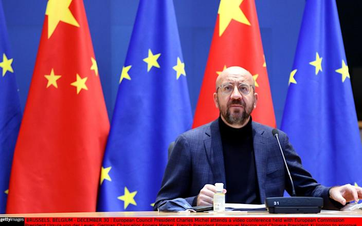 European Council President Charles Michel approved the investment deal that is expected to open China up for electric car firms among other industries - Anadolu