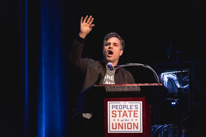 "Mark Ruffalo speaks at ""The People's State Of The Union"" at The Town Hall theater in New York City, NY, on Jan. 29, 2018. (Photo: Cheriss May/NurPhoto)"