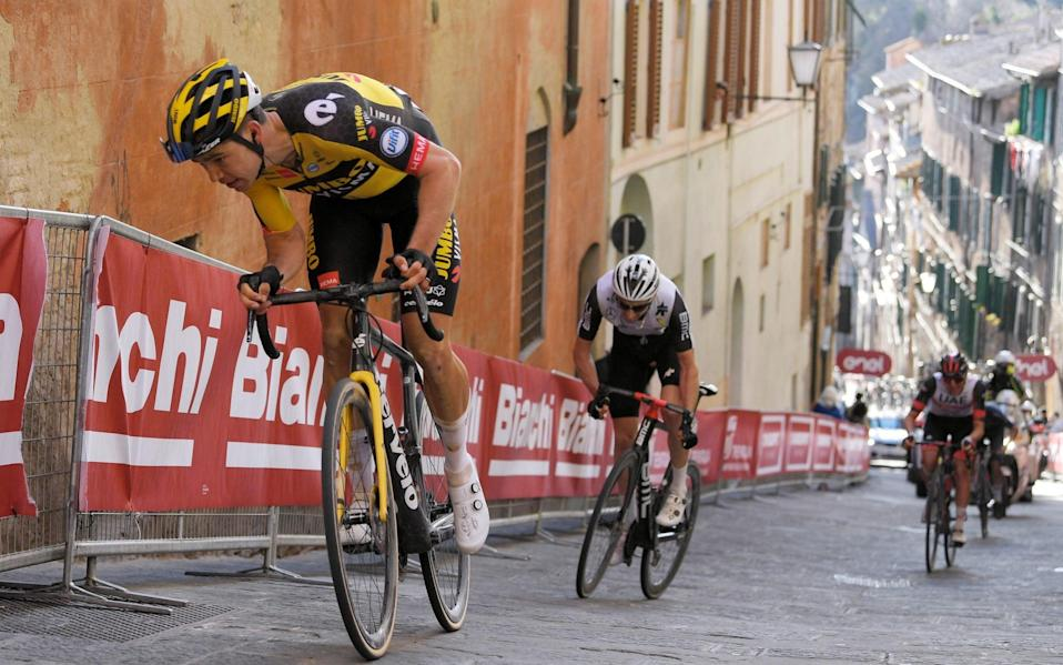 Wout van Aert (left to right), Michael Gogl, Tadej Pogacar and Tom Pidcock—Mathieu van der Poel powers away to win Strade Bianche ahead of Julian Alaphilippe and Egan Bernal - GETTY IMAGES