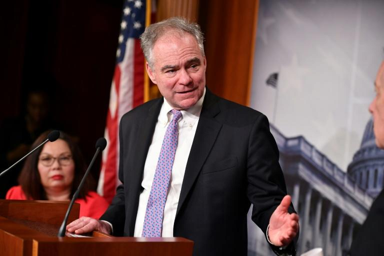Senator Tim Kaine, seen here in February 2020, has led the bid to restrain President Donald Trump from attacking Iran without approval from Congress (AFP Photo/MANDEL NGAN)