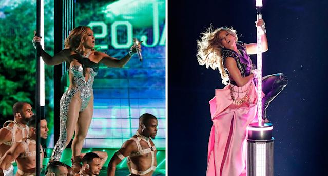 Jennifer Lopez showed of her pole dancing prowess at the Super Bowl 2020 (Getty Images)