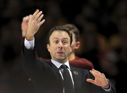 Minnesota head coach Richard Pitino gestures against Rutgers during the second half of an NCAA college basketball game Saturday, Jan. 12, 2019, in Minneapolis. Minnesota defeated Rutgers 88-70. (AP Photo/Andy Clayton-King)
