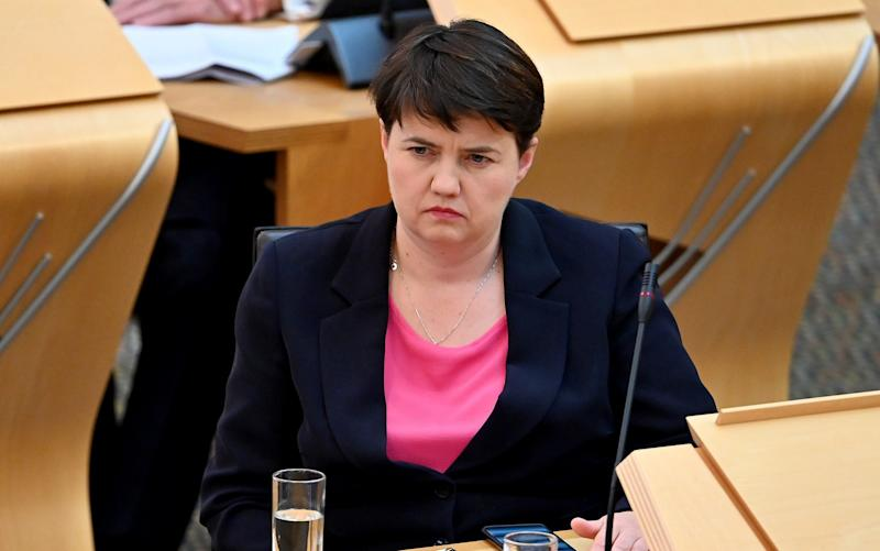 Ruth Davidson raised the messages at Holyrood - Jeff Mitchell/Getty