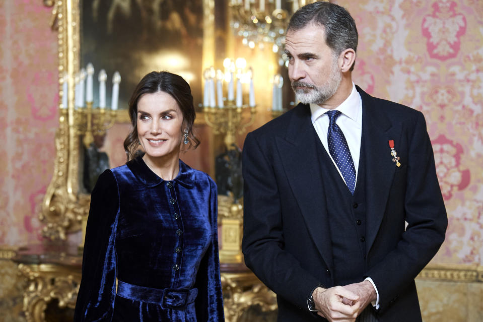 MADRID, SPAIN - FEBRUARY 05: King Felipe VI of Spain and Queen Letizia of Spain receive the Diplomatic Corps at the Zarzuela Palace on February 05, 2020 in Madrid, Spain. (Photo by Carlos Alvarez/Getty Images)