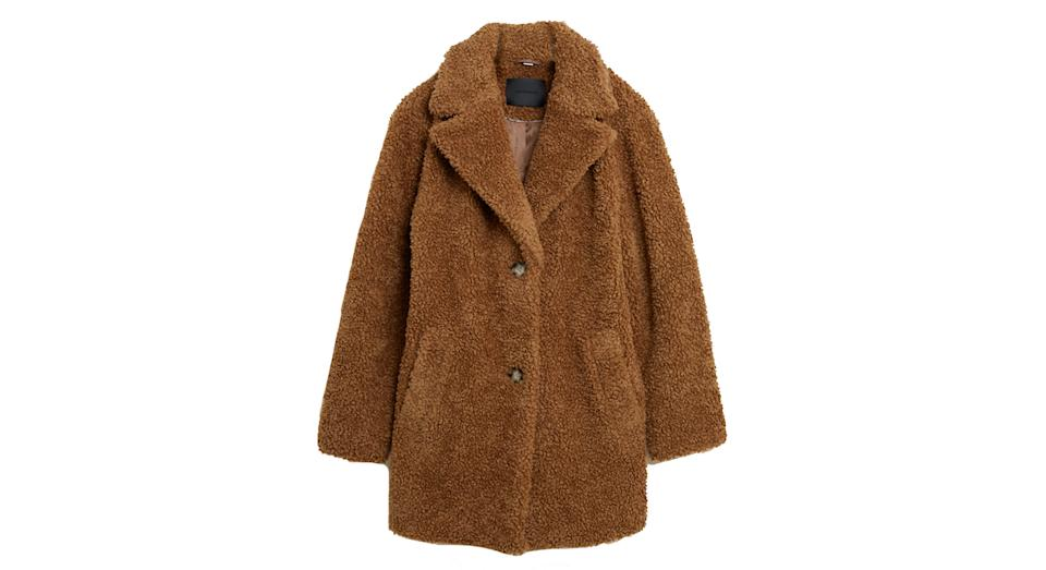 AUTOGRAPH Textured Teddy Coat with Wool