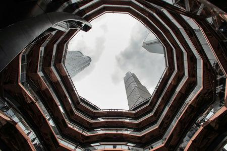A view from inside 'The Vessel,' a large public art sculpture made up of 155 flights of stairs, during the grand opening of the The Hudson Yards development, a residential, commercial, and retail space on Manhattan's West side in New York City, New York, U.S., March 15, 2019. REUTERS/Brendan McDermid