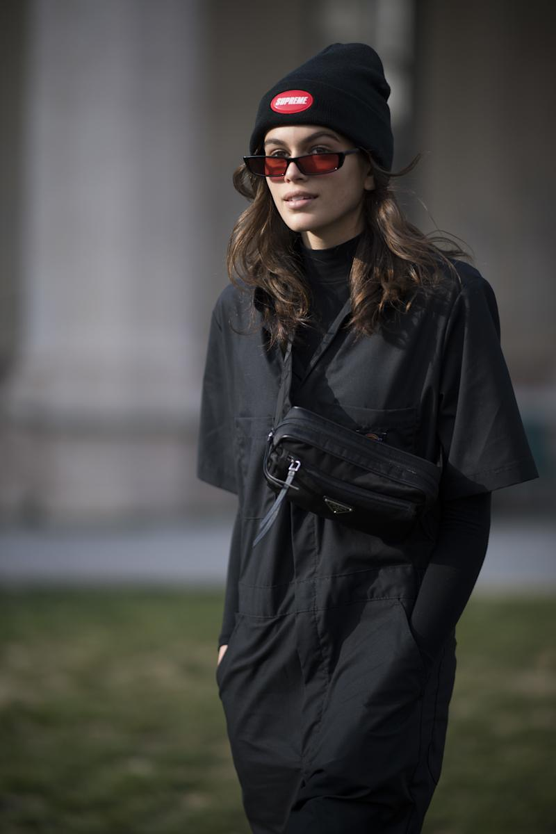 Kaia Gerber seen after the Alberta Feretti show during Milan Fashion Week Fall/Winter 2018/19 on February 21, 2018 in Milan, Italy. Photo courtesy of Getty Images.
