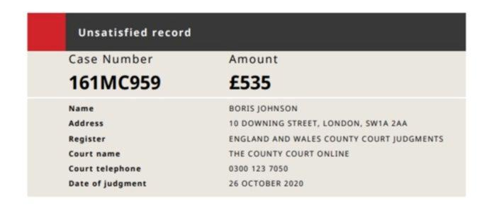 Screengrab of county court judgment against Boris Johnson, taken on 12 May 2021County courts of England and Wales