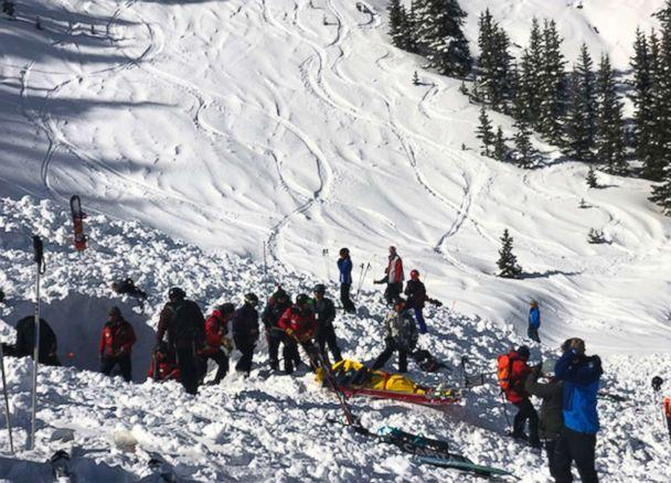 PHOTO: People search for victims after an avalanche near the highest peak of Taos Ski Valley, one of the biggest resorts in New Mexico, Jan. 17, 2019. (Morgan Timms/Taos News via AP)