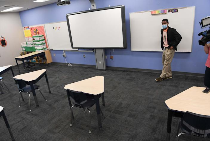 An elementary school classroom on July 20, 2020, in Greenville, South Carolina.