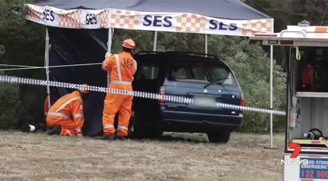 Police believe the blue car containing the body had been moved during the past week. Source: 7 News