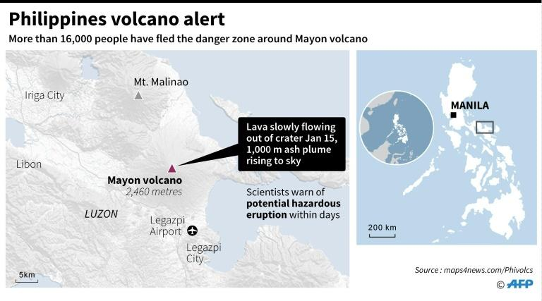 Map locating Mayon volcano in central Philippines