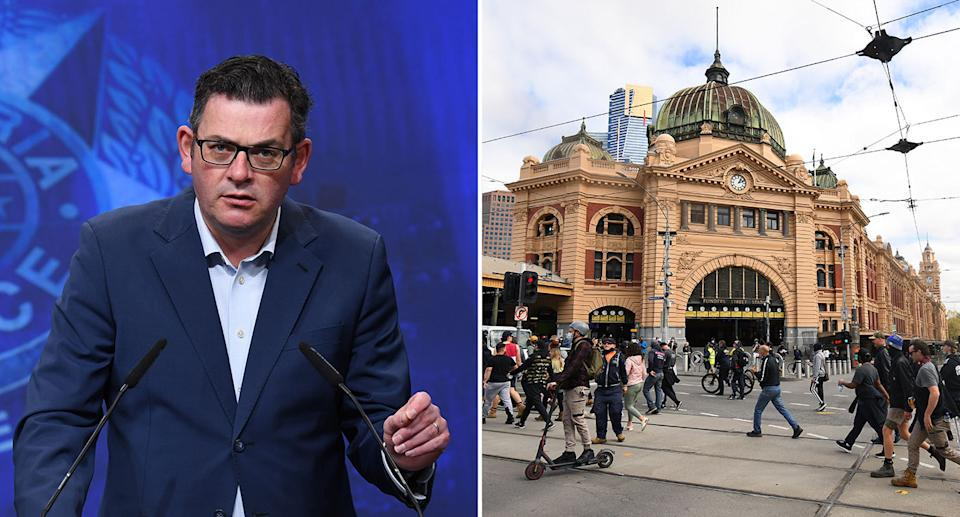 Pictured is premier Daniel Andrews and anti-lockdown, anti-vaccine protesters out in Melbourne on Wednesday.