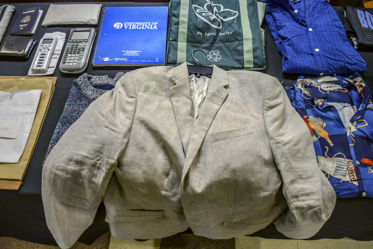<p>A display of Otto's belongings he had with him while traveling abroad at the funeral service of Otto Warmbier at Wyoming High School June 22, 2017 in Wyoming, Ohio. (Photo: The Warmbier Family via Getty Images) </p>