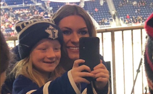 Stacey and her daughter, Jordyn, snap a selfie at the CWHL's Clarkson Cup. (Photo: @staceyjordyn)