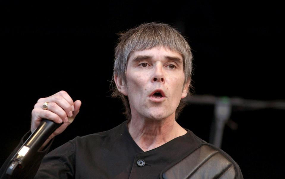 EDITORIAL USE ONLY NO MERCHANDISING NO BIOGRAPHIES Ian Brown of Stone Roses performs on stage at Finsbury Park in London.