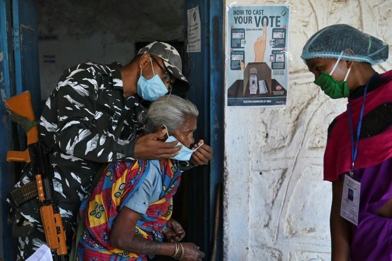 Strict measures were in place at polling stations