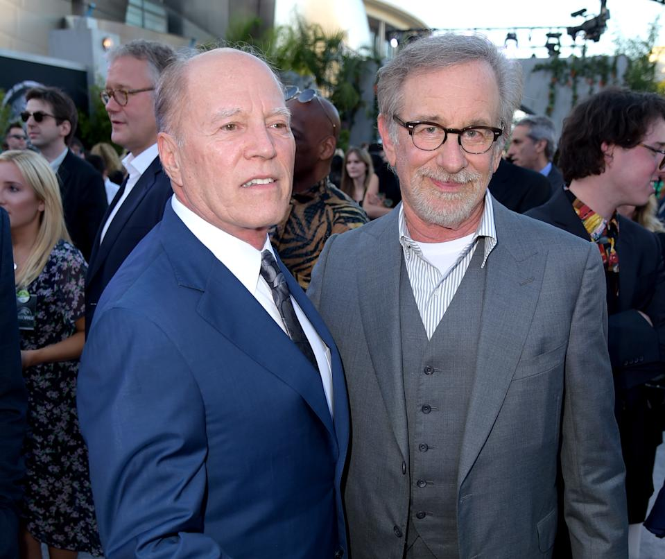 """Frank Marshall and Steven Spielberg arrive at the premiere of """"Jurassic World: Fallen Kingdom"""" on June 12, 2018. (Photo by Kevin Winter/Getty Images)"""