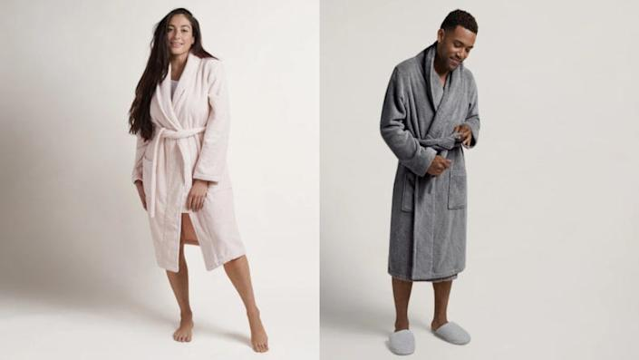 This plush unisex robe is warm and welcoming on cold days.