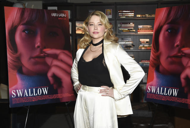 """Actress Haley Bennett attends a special screening of """"Swallow"""" at NeueHouse Madison Square on Tuesday, March 3, 2020, in New York. (Photo by Evan Agostini/Invision/AP)"""