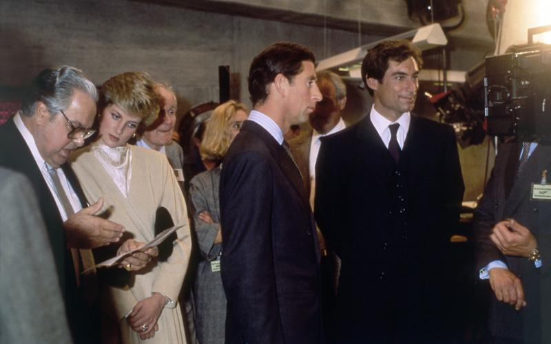 Albert R. Broccoli, Princess Diana and Prince Charles meet Timothy Dalton at the London premiere of The Living Daylights - Sunset Boulevard