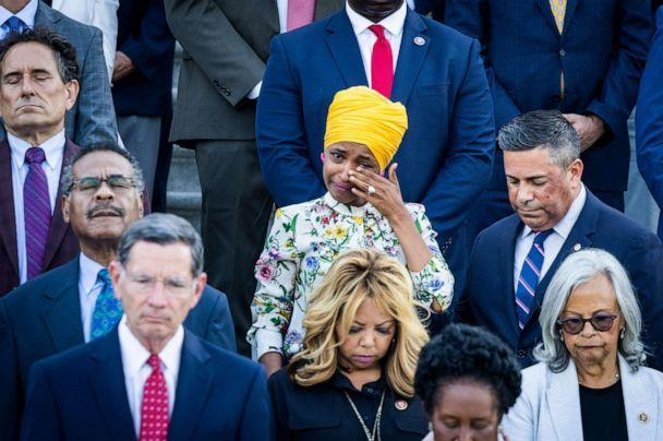 PHOTO: Rep. Ilhan Omar tears up during a moment of silence for 600,000 American lives lost to COVID-19, outside the US Capitol in Washington, D.C., June 14, 2021. (Jim Lo Scalzo/EPA via Shutterstock)