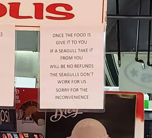 This sign about stolen food as a result of swooping seagulls has gone viral. Source: Reddit