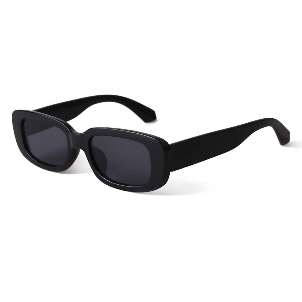 """<h2>25% Off Butaby Rectangle Sunglasses in Black</h2><br>Our fashion writer was feeling so indecisive that she ordered these <a href=""""https://www.refinery29.com/en-us/trendy-amazon-sunglasses"""" rel=""""nofollow noopener"""" target=""""_blank"""" data-ylk=""""slk:sunglasses in three colors"""" class=""""link rapid-noclick-resp"""">sunglasses in three colors</a> — and she doesn't regret a single one. Lucky for you, they're marked down significantly today — and rumor has it they come in <a href=""""https://amzn.to/3xz2Xf4"""" rel=""""nofollow noopener"""" target=""""_blank"""" data-ylk=""""slk:sets of two"""" class=""""link rapid-noclick-resp"""">sets of two</a>.<br><br><em>Shop Butaby at <strong><a href=""""https://amzn.to/3xz2Xf4"""" rel=""""nofollow noopener"""" target=""""_blank"""" data-ylk=""""slk:Amazon"""" class=""""link rapid-noclick-resp"""">Amazon</a></strong></em><br><br><strong>BUTABY</strong> Rectangle Sunglasses in Black, $, available at <a href=""""https://amzn.to/3gL9n5b"""" rel=""""nofollow noopener"""" target=""""_blank"""" data-ylk=""""slk:Amazon"""" class=""""link rapid-noclick-resp"""">Amazon</a>"""