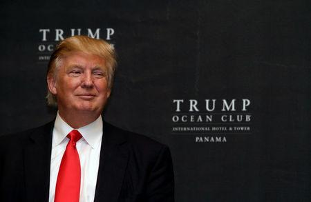 FILE PHOTO: U.S. property magnate Donald Trump smiles during the inauguration of the Trump Ocean Club in Panama City
