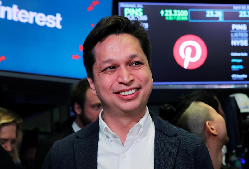 Pinterest, Inc. by Chairman, Co-Founder, President and CEO Ben Silbermann reacts as they celebrate the IPO of Pinterest Inc. at the New York Stock Exchange (NYSE) in New York, U.S., April 18, 2019. REUTERS/Brendan McDermid