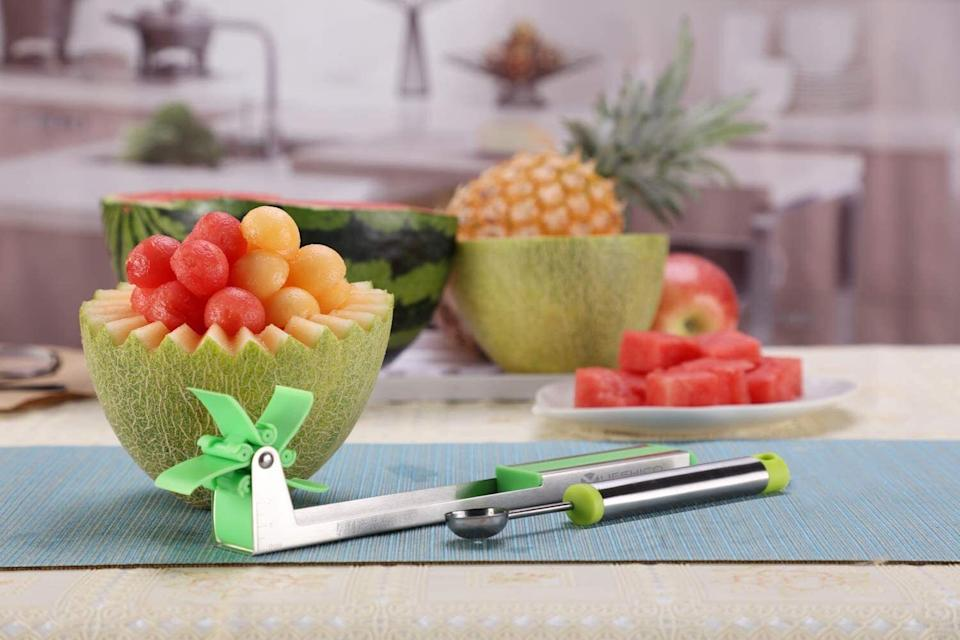 """It'llslice, core and scoop melons. Stop buying it pre-cut! It's more expensive that way and this gadget will make cutting it up so much more simple. You're welcome!<br /><br /><strong>Promising review:</strong>""""Love this product! It was worth the wait and you can't beat the price! When I purchased this product for my melon-loving mother I was hesitant it wouldn't work, but boy was I wrong. It makes cutting melon fun!"""" — <a href=""""https://www.amazon.com/gp/customer-reviews/R38RX18SC7B61S?&linkCode=ll2&tag=huffpost-bfsyndication-20&linkId=95a75538de91ee99f57d506fdb60e2ac&language=en_US&ref_=as_li_ss_tl"""" target=""""_blank"""" rel=""""noopener noreferrer"""">Amazon Customer</a><br /><br /><strong><a href=""""https://www.amazon.com/Yueshico-Stainless-Watermelon-Vegetable-Kitchen/dp/B07MYXN2L9?&linkCode=ll1&tag=huffpost-bfsyndication-20&linkId=1cab6ac7877ebe683187d9fe475f3626&language=en_US&ref_=as_li_ss_tl"""" target=""""_blank"""" rel=""""noopener noreferrer"""">Get it from Amazon for $11.27.</a></strong>"""