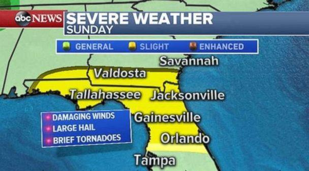 Bad weather is possible throughout North Florida and the Panhandle on Sunday. (ABC News)