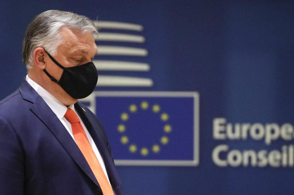 Hungary's Prime Minister Viktor Orban arrives on the first day of a European Union summit. (OLIVIER HOSLET/POOL/AFP via Getty Images)