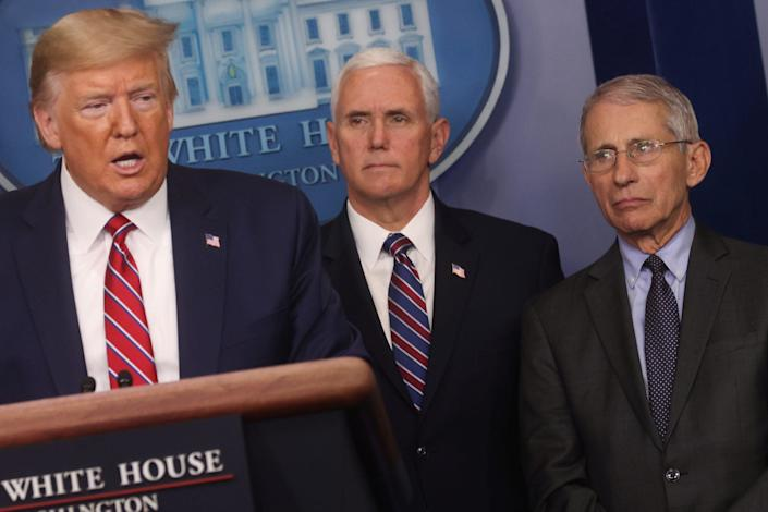 Trump with Vice President Mike Pence and the infectious-disease expert Anthony Fauci at the March 20 coronavirus press briefing.