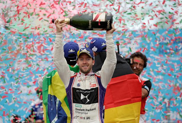 Motor Racing - Formula E - Rome ePrix - Rome, Italy - April 14, 2018 DS Virgin Racing's Sam Bird celebrates winning the race during the podium ceremony REUTERS/Max Rossi TPX IMAGES OF THE DAY