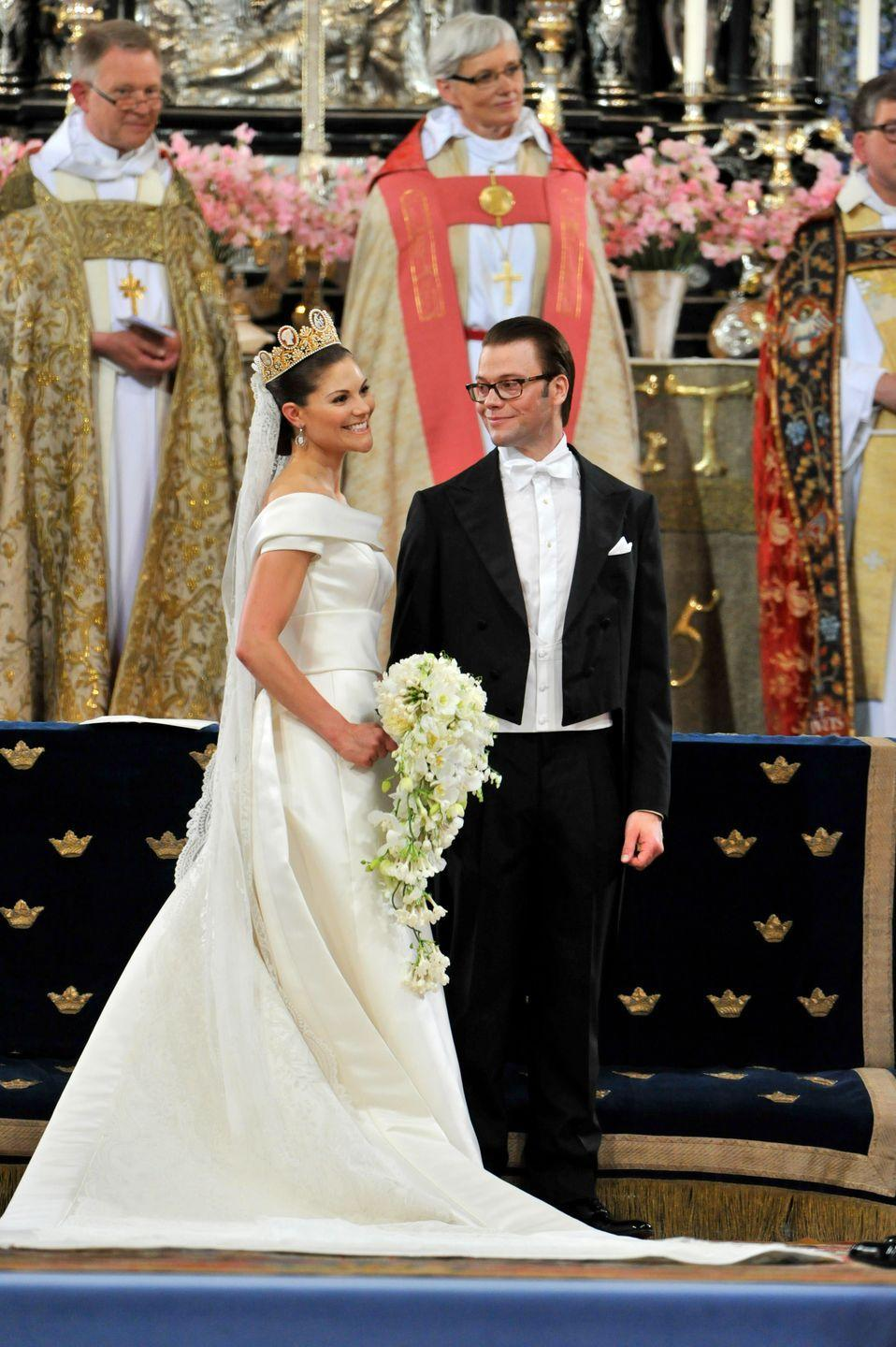 <p>Married on June 19, 2010, Princess Victoria and Prince Daniel of Sweden had their wedding at Storkyrkan church in Stockhold, Sweden. Princess Victoria's wedding dress was made of cream duchess silk satin with a detachable 16-foot train, a rounded collar, and minimal embellishments.</p>