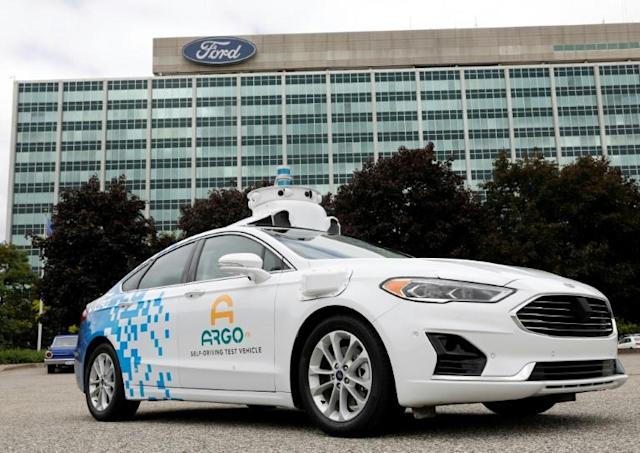 An Argo AI test vehicle is parked in front of the Ford headquarters in Dearborn, Michigan, the self-driving vehicle that will be key to the alliance with VW (AFP Photo/JEFF KOWALSKY)