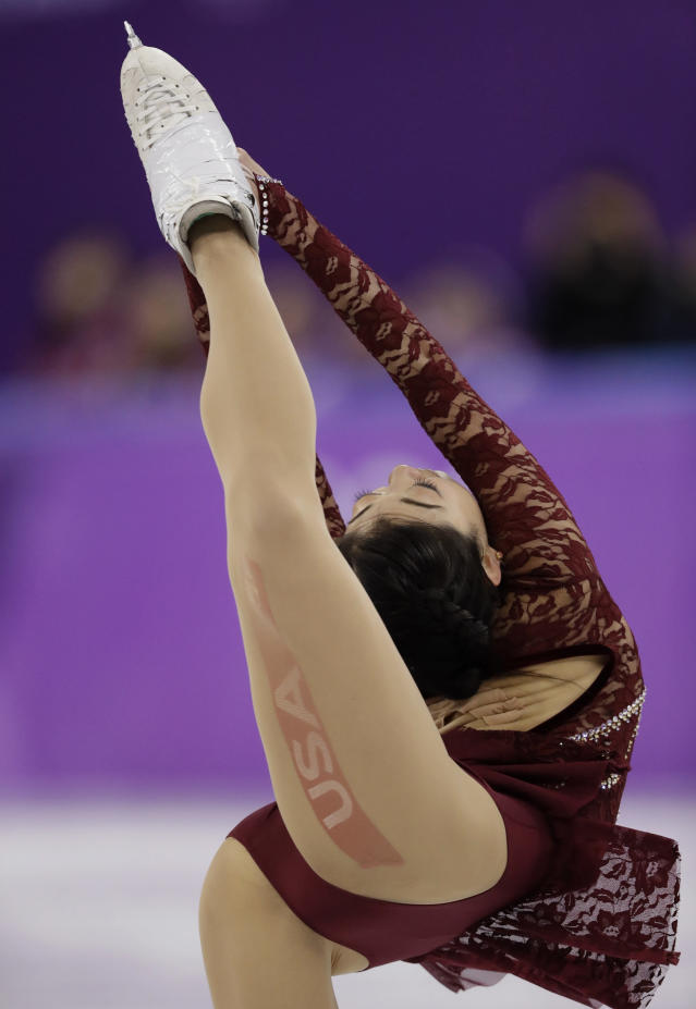 <p>Mirai Nagasu of the United States performs during the women's short program figure skating in the Gangneung Ice Arena at the 2018 Winter Olympics in Gangneung, South Korea, Wednesday, Feb. 21, 2018. (AP Photo/Bernat Armangue) </p>