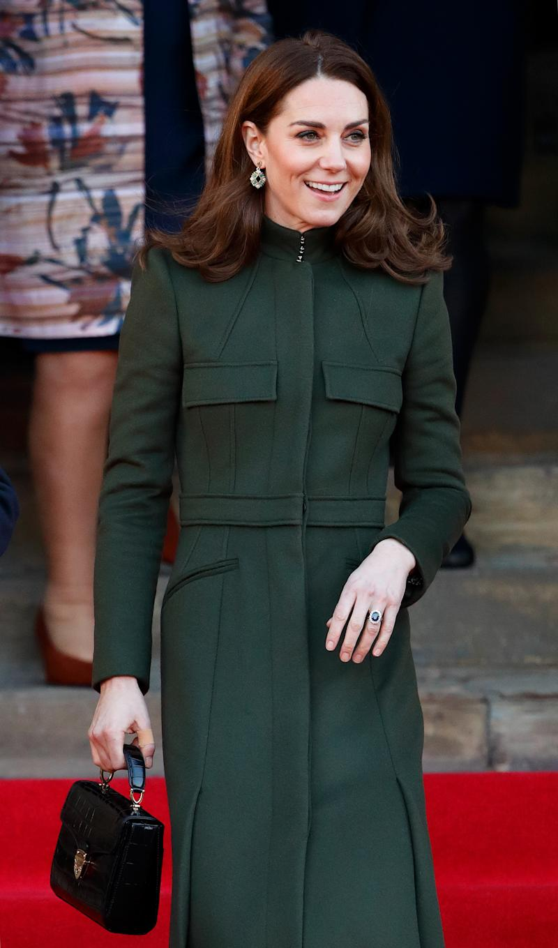 Kate Middleton's first royal engagement of 2020, which saw her visit Bradford, saw her accessorise with the black version of the Midi Mayfair bag. (Getty Images)