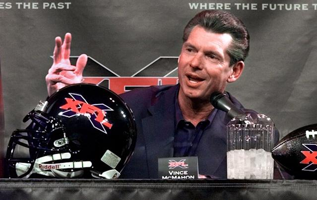 In this Feb. 3, 2000 photo, Vince McMahon speaks during a news conference in New York. The XFL is set for a surprising second life, McMahon announced on Jan. 25, 2018. Hiring NCAA exec Oliver Luck to lead the league is evidence of that. (AP file photo)