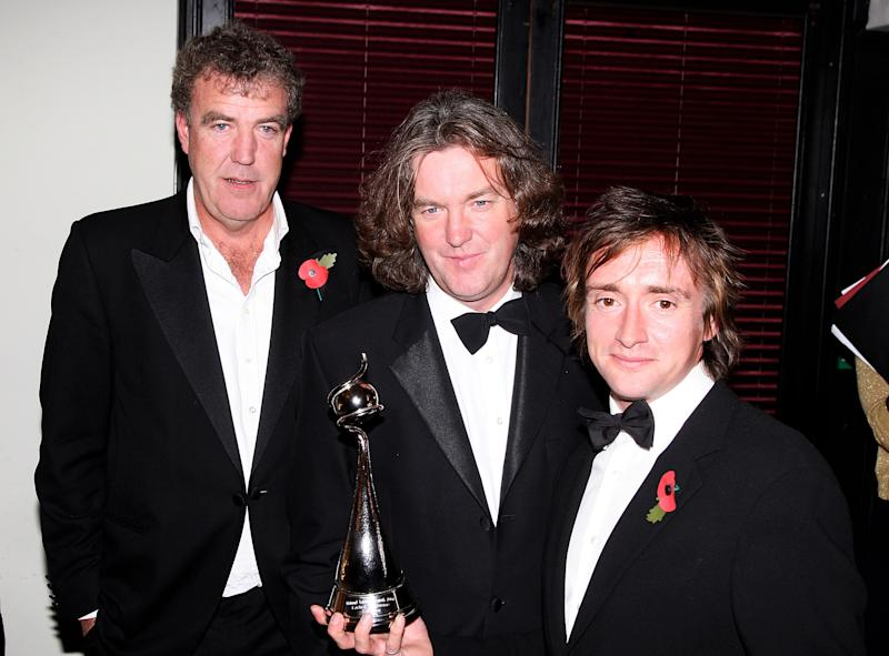 LONDON - OCTOBER 31: 'Top Gear' presenters (L-R) Jeremy Clarkson, James May and Richard Hammond pose with the award for Most Popular Factual Programme at the National Television Awards 2007 at the Royal Albert Hall on October 31, 2007 in London, England. (Photo by Dave Hogan/Getty Images)