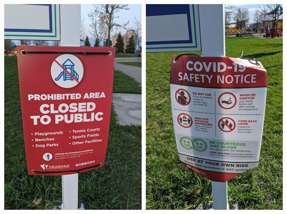 Public health instruction signs at a playground