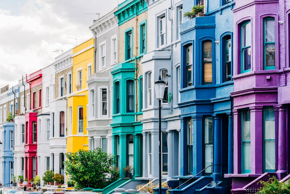 Brightly coloured dwellings in West London